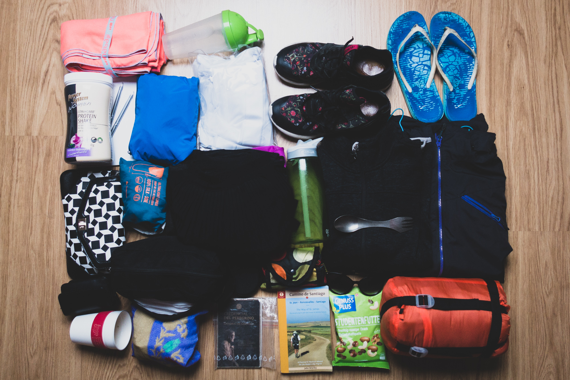All the items I took with me on the Camino