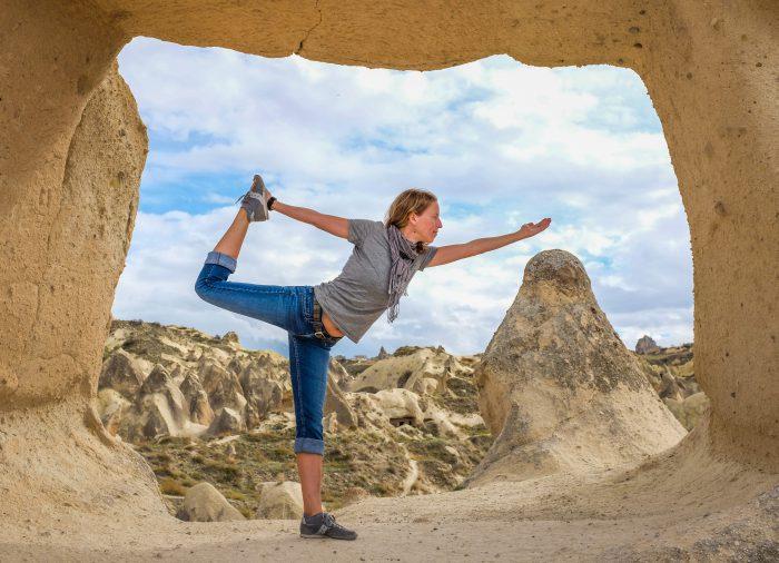 Sarah Burch doing a yoga asana